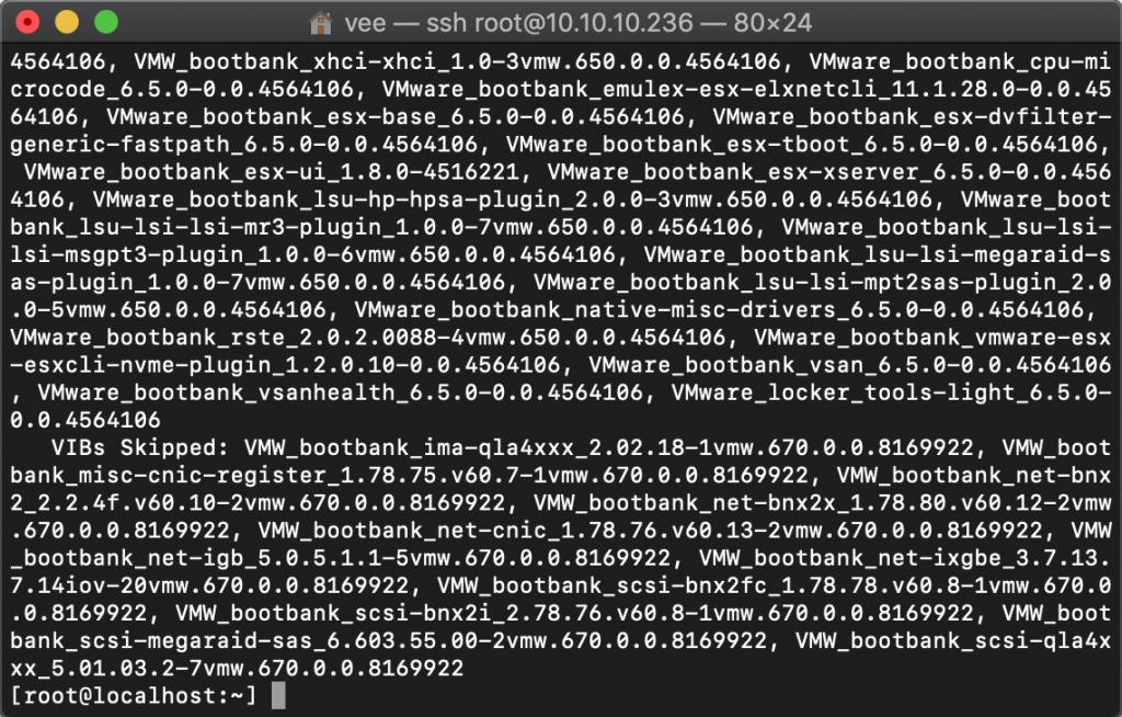 ESXI升级最新版,使用命令平滑升级到6.7版本